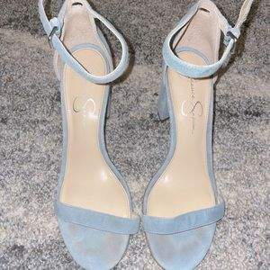 Light Blue Suede Strappy Heels